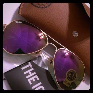 Ray Ban 58mm Purple Flash Lens w Matte Gold Frame